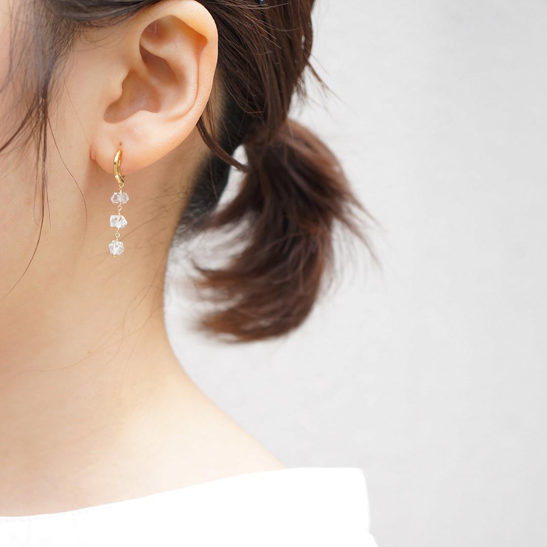 ハーキマーダイヤモンドイヤリング